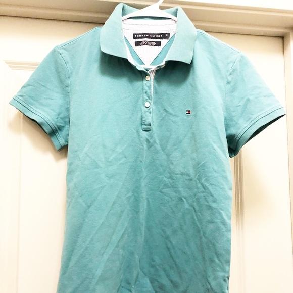 77f3d32b0 Tommy Hilfiger Shirts | Aqua Polo Sz Large Very Good Cond | Poshmark